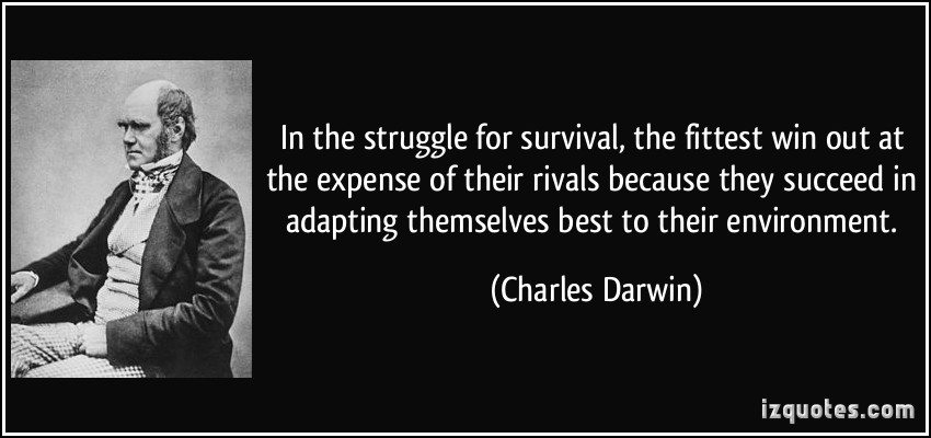 In the struggle for survival, the fittest win out at the expense of their rivals because they succeed in adapting themselves best to their environment.