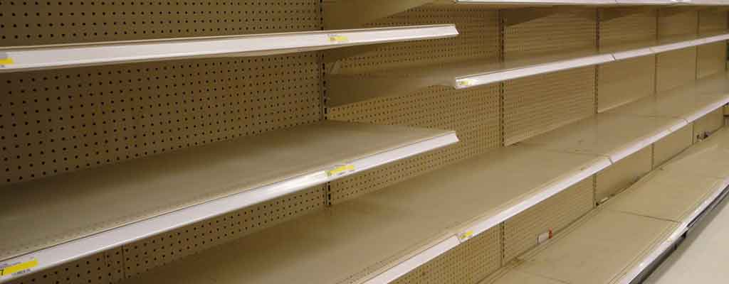 empty store shelves before a disaster hits